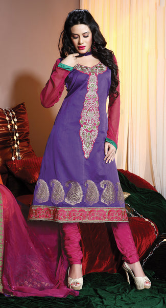 atisundar Varuna: Comely Unstitched Salwar Kameez In Purple - 3995 - atisundar - 2 - click to zoom