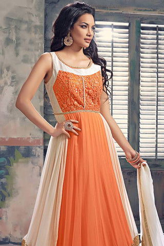 Designer Anarkali:atisundar gorgeous Orange And Cream Designer Party Wear Anarkali - 12833