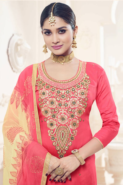Designer Straight Cut:atisundar cute Pink Designer Party Wear Straight Cut - 12823 - click to zoom