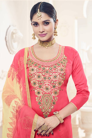 Designer Straight Cut:atisundar cute Pink Designer Party Wear Straight Cut - 12823