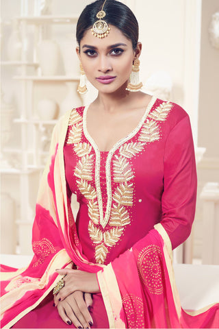 Designer Straight Cut:atisundar Charismatic Pink Designer Party Wear Straight Cut - 12826