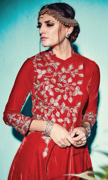 Designer Straight Cut Suit:atisundar Superb Red Designer Straight Cut Embroidered Suits - 9144 - atisundar - 3 - click to zoom