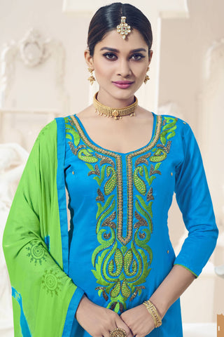 Designer Straight Cut:atisundar pretty Blue Designer Party Wear Straight Cut - 12828