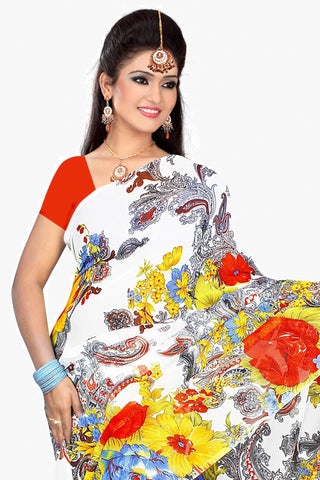 Designer Party wear Saree:atisundar charming Designer Sarees in White  - 11480 - atisundar - 2
