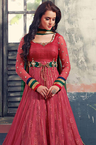 Designer Anarkali:atisundar ravishing Red Designer Party Wear Anarkali - 12853