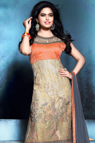 Designer Straight Cut:atisundar superb Orange And Grey Designer Party Wear Straight Cut - 12886