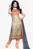 Designer Straight Cut:atisundar superb Orange And Grey Designer Party Wear Straight Cut - 12886 - click to zoom
