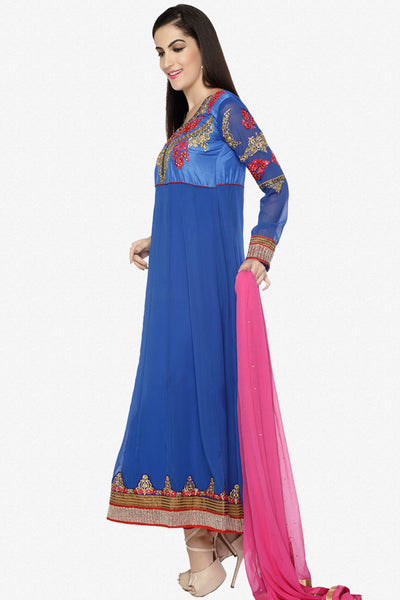 Embroidered Party Wear Anarkali in Net and Faux georgette:atisundar ravishing Blue embroidered Party Wear Anarkali - 6148 - click to zoom