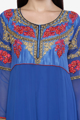 Embroidered Party Wear Anarkali in Net and Faux georgette:atisundar ravishing Blue embroidered Party Wear Anarkali - 6148