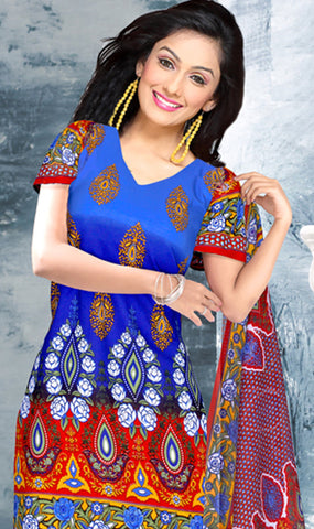 Designer Printed Unstitched Suits:atisundar Great   in Blue And Red - 5654 - atisundar - 3