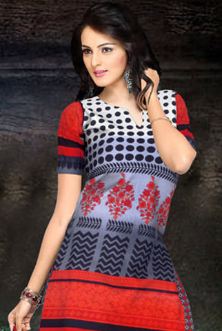 Graceful Print Red Unstitched Salwar Kameez By atisundar - atisundar - 3