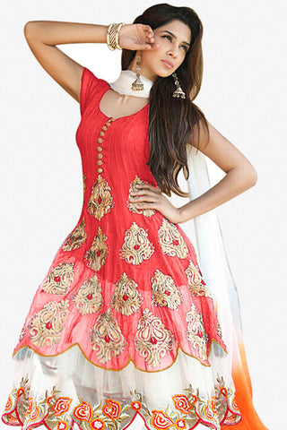 Designer Anarkali:atisundar Charismatic Red Designer Party Wear Anarkali - 12836