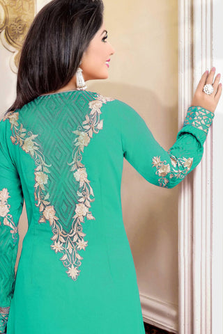 Designer Straight Cut:atisundar dazzling Green Designer Party Wear Straight Cut Featuring Heena Khan - 13461