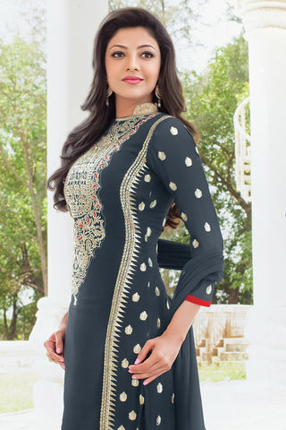 Designer Straight Cut:atisundar ravishing Navy Blue Designer Embroidered Straight Cut - 10629 - atisundar - 2