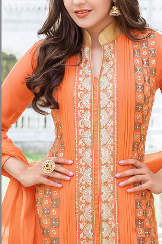 Designer Straight Cut:atisundar graceful Orange Designer Embroidered Straight Cut - 10630 - atisundar - 3