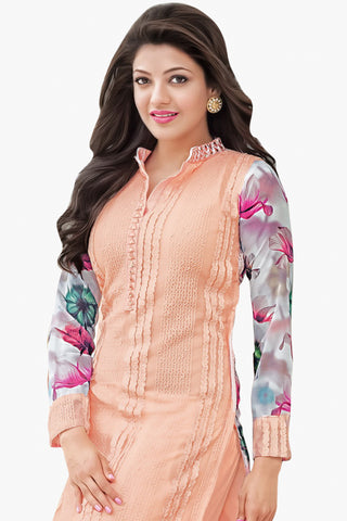 Designer Straight Cut:atisundar lovely Peach Designer Straight Cut  - 11860 - atisundar - 3 - click to zoom
