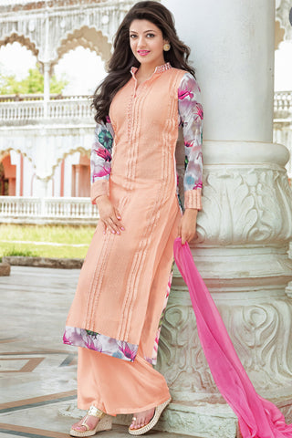 Designer Straight Cut:atisundar lovely Peach Designer Straight Cut  - 11860 - atisundar - 2 - click to zoom