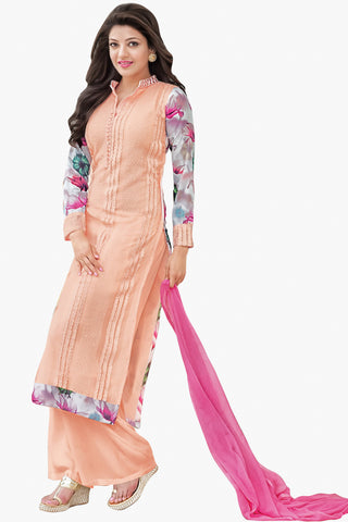 Designer Straight Cut:atisundar lovely Peach Designer Straight Cut  - 11860 - atisundar - 1 - click to zoom