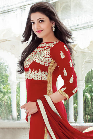 Designer Straight Cut:atisundar charming Red Designer Embroidered Straight Cut - 10633 - atisundar - 2