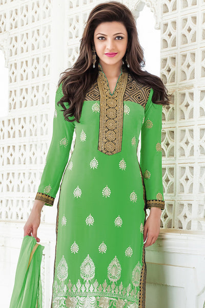 Designer Straight Cut:atisundar pretty Green Designer Embroidered Straight Cut - 10634 - atisundar - 2 - click to zoom