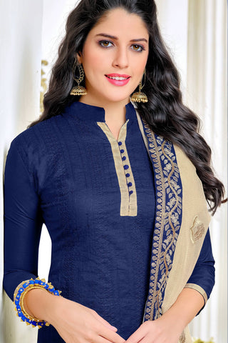 Designer Straight Cut:atisundar splendid Blue Summer Cotton Suits - 13101