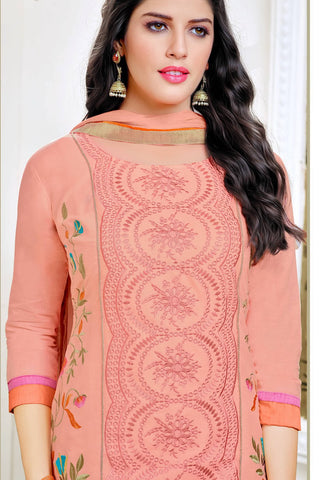 Designer Straight Cut:atisundar charming Peach Summer Cotton Suits - 13102