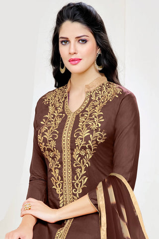 Designer Straight Cut:atisundar refined Brown Summer Cotton Suits - 13103