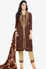 Designer Straight Cut:atisundar refined Brown Summer Cotton Suits - 13103 - click to zoom
