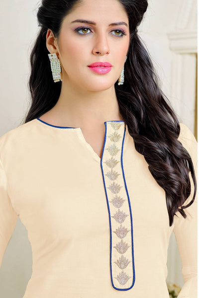 Designer Straight Cut:atisundar delicate Cream Summer Cotton Suits - 13104 - click to zoom