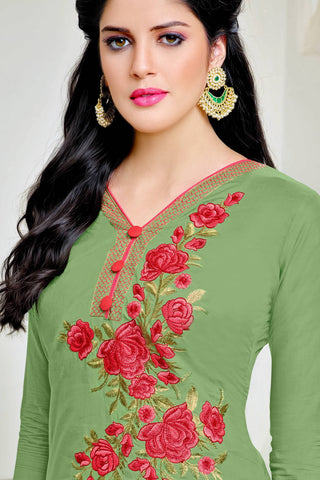 Designer Straight Cut:atisundar Great Green Summer Cotton Suits - 13105