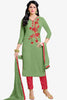 Designer Straight Cut:atisundar Great Green Summer Cotton Suits - 13105 - click to zoom