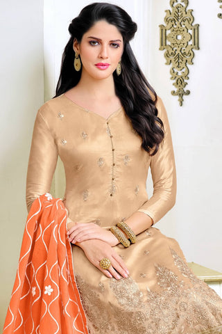 Designer Straight Cut:atisundar ravishing Cream Summer Cotton Suits - 13107