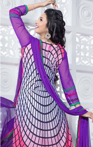 Straight Cut with Embroidery and Digital Print:atisundar pretty Pink And Purple Straight Cut with Embroidery and Digital Print - 6298 - atisundar - 4