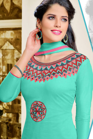 Designer Straight Cut:atisundar Smart Green Summer Cotton Suits - 13108