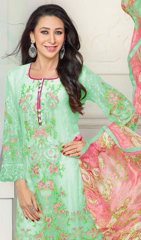The Karishma Kapoor Collection:atisundar enticing Green Designer Straight Cut  - 9795 - atisundar - 2