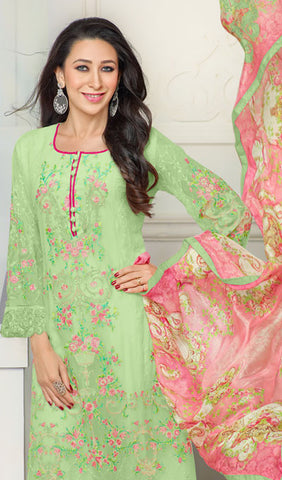The Karishma Kapoor Collection:atisundar angelic Parrot Green  Designer Straight Cut  - 9799 - atisundar - 2