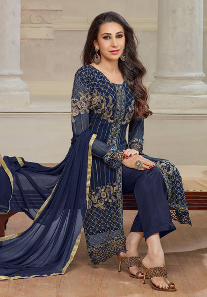 The karishma Kapoor Collection!:atisundar Attractive Blue Designer Straight Cut  - 7862 - click to zoom