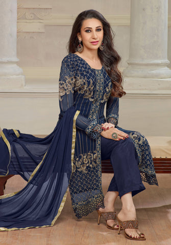 The karishma Kapoor Collection!:atisundar Attractive Blue Designer Straight Cut  - 7862 - atisundar - 2