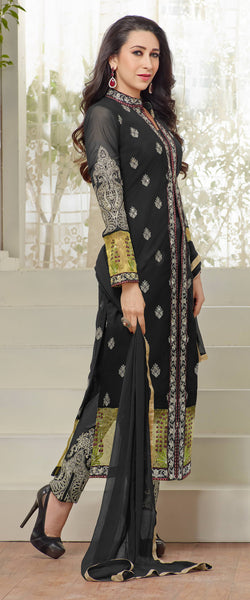 The karishma Kapoor Collection!:atisundar graceful Black Designer Straight Cut  - 7866 - atisundar - 3 - click to zoom