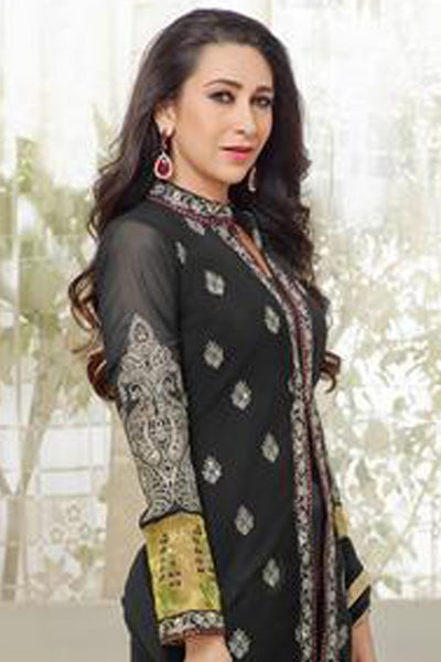The karishma Kapoor Collection!:atisundar graceful Black Designer Straight Cut  - 7866 - click to zoom