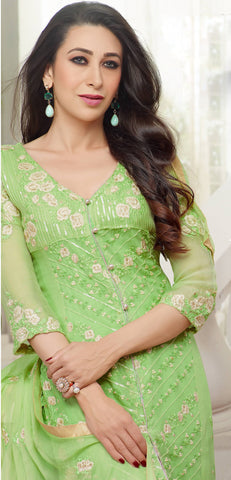 The karishma Kapoor Collection!:atisundar Alluring Green Designer Straight Cut  - 7867 - atisundar - 3