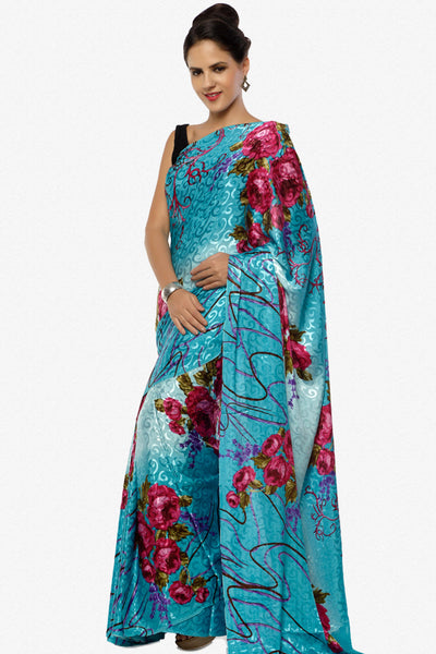 Designer Printed Saree In Crepe Jacquard:atisundar comely Designer Printed Saree in Crepe Jacquard in Sky  - 6320 - click to zoom