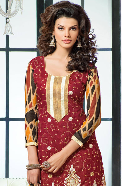 Designer Embroidered Chanderi Cotton Suits:atisundar graceful Maroon Straight Cut Embroidered Dress Material - 6334 - atisundar - 4 - click to zoom