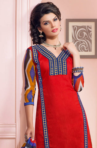 Designer Embroidered Chanderi Cotton Suits:atisundar fair Red Straight Cut Embroidered Dress Material - 6336 - atisundar - 4 - click to zoom