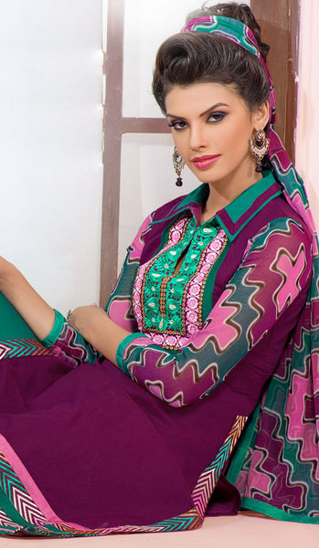 Designer Embroidered Chanderi Cotton Suits:atisundar marvelous Purple Straight Cut Embroidered Dress Material - 6349 - atisundar - 5 - click to zoom