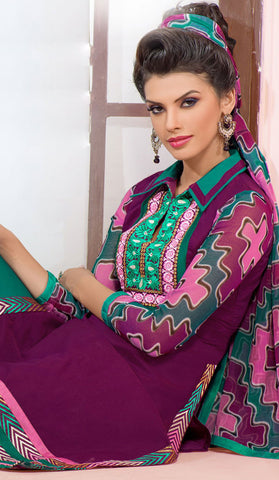 Designer Embroidered Chanderi Cotton Suits:atisundar marvelous Purple Straight Cut Embroidered Dress Material - 6349 - atisundar - 5