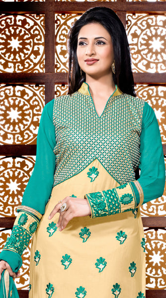 Designer Embroidered Straight Cut Suit Featuring Divyanka Tripathi:atisundar Attractive Green And Cream Designer Ready to Stitch Straight Cut Suit - 6400 - atisundar - 4 - click to zoom