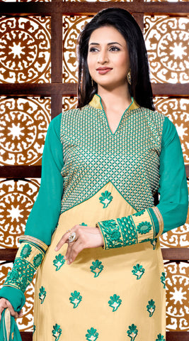 Designer Embroidered Straight Cut Suit Featuring Divyanka Tripathi:atisundar Attractive Green And Cream Designer Ready to Stitch Straight Cut Suit - 6400 - atisundar - 4