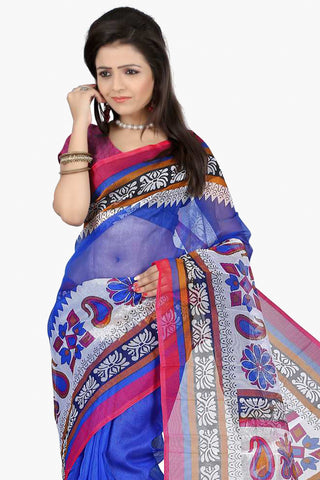 Designer Party wear Saree:atisundar cute Designer Printed Party Wear Saree in Supernet in Blue  - 11507 - atisundar - 2