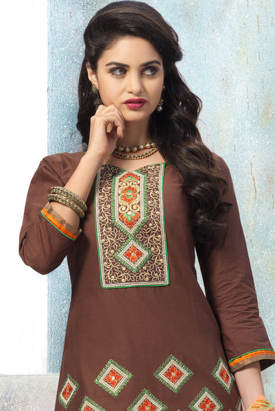Designer Embroidered Patiala in Cotton:atisundar superb Brown Designer Embroidered Patiala Dress Material In Cotton - 6429 - atisundar - 4 - click to zoom
